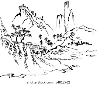 Village in the mountains. Black and white illustration (vector).