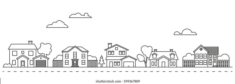 Village neighborhood line art vector. Residential buildings on suburban street.