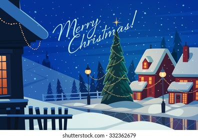 Village at night. Christmas greeting card. Vector illustration.