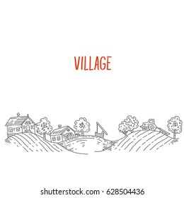 Village or ranch with a well and arable land, a panorama of linear graphics, sketch lines, engraving style