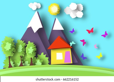 Village Scene Paper World. Rural Life with Cut Butterflies, House, Tree, Cloud, Sun. Colorful Crafted Nature. Summer Landscape. Cutout Applique. Hanging Elements. Vector Illustrations Art Design.