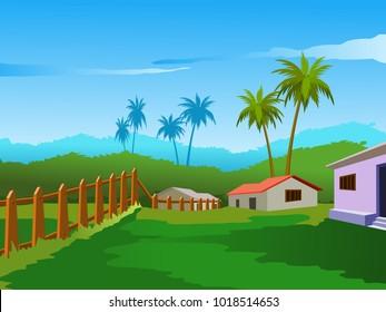 Village Scenery Vector