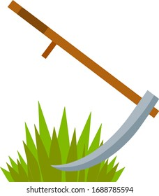 Village scythe. Wooden tool with blade. Process of Mowing the green grass. Symbol of rural harvest. Preparing food for animal. Cartoon flat illustration