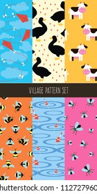 Village seamless vector pattern set