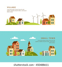 Village. Small town. Rural and urban landscape. Vector illustration.