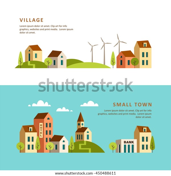 Village Small Town Rural Urban Landscape Stock Vector