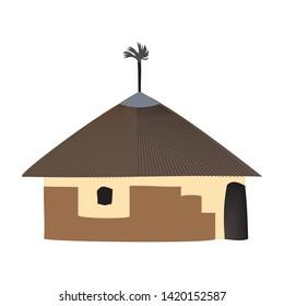 Village tiki hut icon. Cartoon illustration of village tiki hut vector icon logo isolated on white background