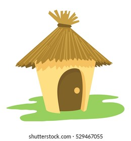 Village tiki hut icon. Cartoon illustration of village tiki hut vector icon logo isolated on white background