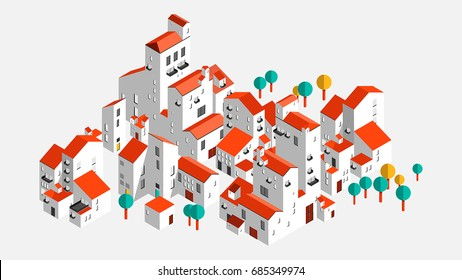Village. typical Spanish village. Vector. Vector illustration. Landscape composed of typical Spanish villages of southern white houses. Small town or village.