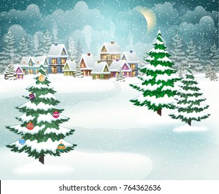 Village winter landscape with snow-covered houses and christmas tree with Christmas decorations.