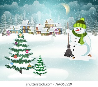 Village winter landscape with snow-covered houses, snowman with a broom and christmas tree with Christmas decorations.