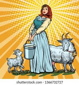 a village woman with bucket of milk goats. Pop art retro vector illustration vintage kitsch 50s 60s
