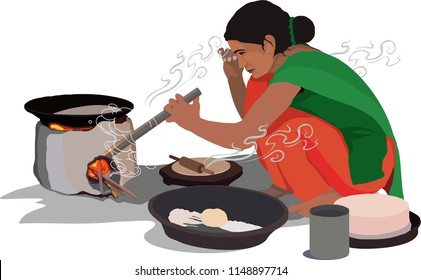 village women cooking food