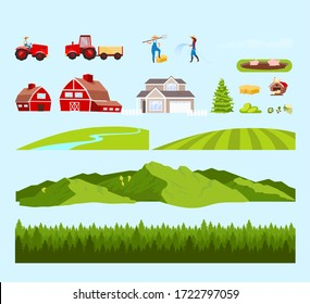 Village workers and fields cartoon vector objects set. Farm constructor. Gardeners and rural machinery flat color illustrations collection. Mountains, forest isolated pack on white background