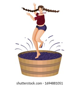 Village young woman is crushing grapes with her feet while dancing in wooden vat. Feast of harvest of grapes. Craft traditional wine making. Flat cartoon vector illustration. Isolated object on white