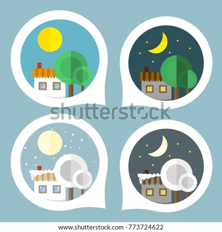 Villages Night Day Graphic Business Design Stock Vector Royalty