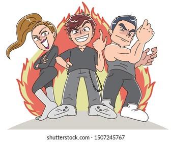 The villain threesome challenge the battle