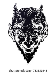 Vinage style hand drawn devil or demon portrat. Decorative sleeping foxes. Krampus. Traditional christmas imp. Isolated Vector illustration. Can be tattoo, bag print, t-shirt print, sticker and more.