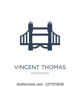 vincent thomas bridge icon vector on white background, vincent thomas bridge trendy filled icons from Monuments collection, vincent thomas bridge vector illustration