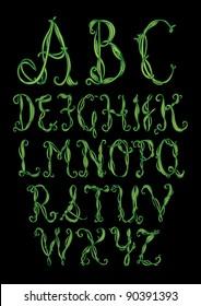 vine alphabet/font