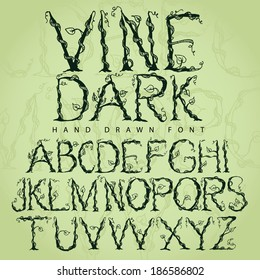 Vine font alphabet EPS 10 vector, grouped for easy editing. No open shapes or paths.