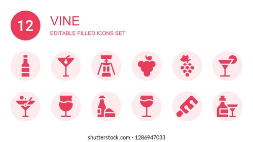 vine icon set. Collection of 12 filled vine icons included Wine, Cocktail, Corkscrew, Grape, Grapes, Martini