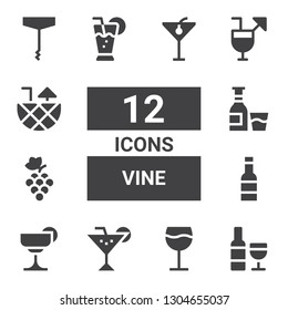 vine icon set. Collection of 12 filled vine icons included Wine, Cocktail, Grapes, Alcohol, Cocktails, Corkscrew