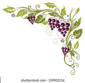 Vine leaves with grapes, colorful autumn border