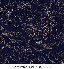 Vine seamless pattern for package design. Old style golden background with grape berries and leaves. Vector illustration.