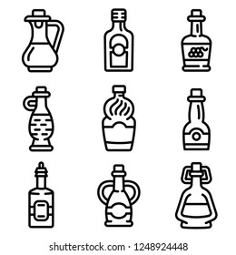 Vinegar bottle icon set. Outline set of vinegar bottle vector icon for web design isolated on white background