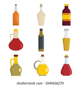 Vinegar bottle icons set. Flat illustration of 9 vinegar bottle icons for web