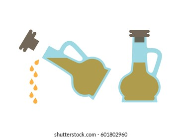 Vinegar bottle in two positions, sitting still with cork on or pouring drips