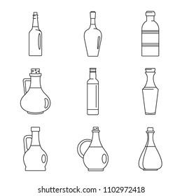 Vinegar oil olive bottle icons set. Outline illustration of 9 vinegar oil olive bottle icons for web