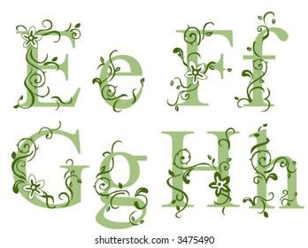Vines Alphabet Series - Vector