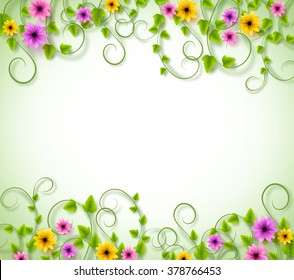 Vines Background for Spring Season with Realistic Colorful Flowers and Leaves with Space for text. Vector Illustration