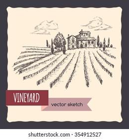 Vineyard and cottage landscape hand drawn vector sketch. Great for vine and travel ads, brochures, labels.