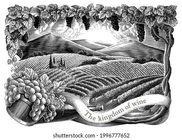 Vineyard with frame hand draw vintage engraving style black and white clip art isolated on white background