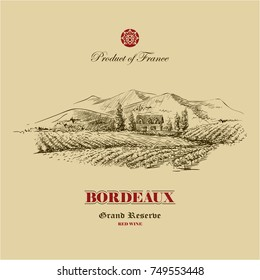 vineyard landscape hand drawn illustration, wine label design template