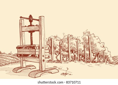 Vineyard and old wooden press vector illustration