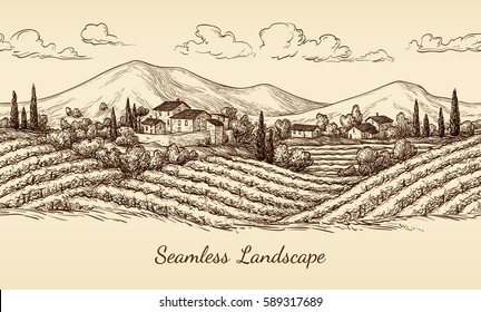 Vineyard seamless landscape. Vine sketch isolated on white. Hand drawn vector illustration.