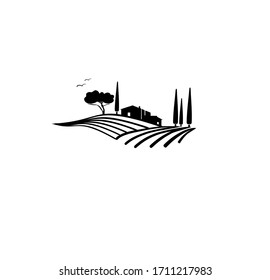ぶどう園のベクターイラストの田園風景