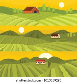 Vineyard wine grapes hills farm banner horizontal concept set. Flat illustration of 3 vineyard wine grapes hills farm vector banner horizontal concepts for web