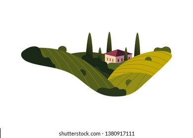 Vineyard wine grapes hills farm banner concept sign. Romantic rural landscape in sunny day with villa, vineyard fields, plantation hills, farms, meadows and trees. Vector color creative illustration