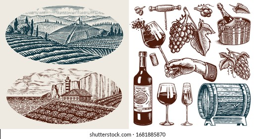 Vineyard and Wine Set. Sparkling champagne, bottle and glass Cheers, ice bucket, Corkscrew Cork Grapes, wooden barrel. Vine labels. Hand drawn Engraved vintage sketch for poster, restaurant menu.