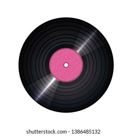Vinil record with glitter, texture and pink color. The view from the top.