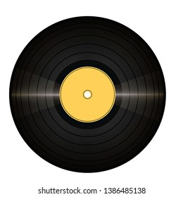 Vinil record with glitter and yellow color. The view from the top.