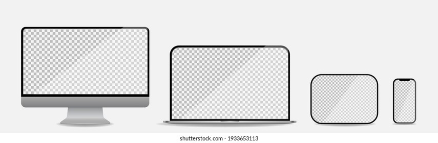 Vinnytsia, Ukraine - March 10, 2021: Realistic set of computer, laptop, tablet and smartphone. Media device mockup with transparent screen. Vector illustration
