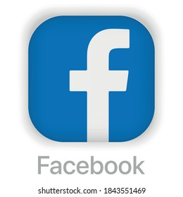 Vinnytsia, Ukraine, October 30 2020: Facebook Vector image of a flat icon with the letter F of the blue color. Button with the letter.