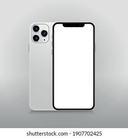 Vinnytsia, Ukraine, October 30 2020: Iphone 12 mockup with blank white screen. Realistic vector trendy frameless smart phone, cellphone isolated.