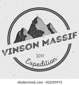 Vinson Massif in Sentinel Range, Antarctica outdoor adventure logo. Round expedition vector insignia. Climbing, trekking, hiking, mountaineering and other extreme activities logo template.